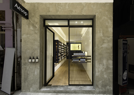 Aesop's new Hollywood Road store features pale oak, copper and blackened steel