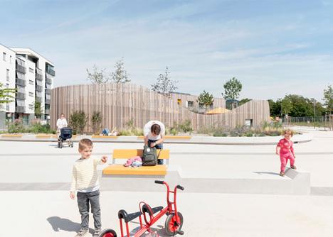 Behnisch Architektens kindergarten nestles in new Heidelberg plaza