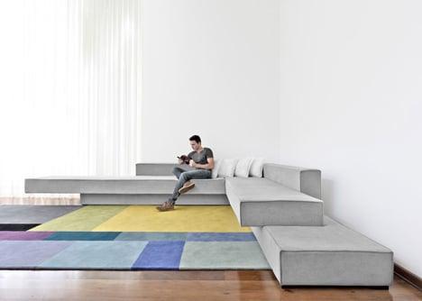 Cantilevered sofa by Paulo Kobylka