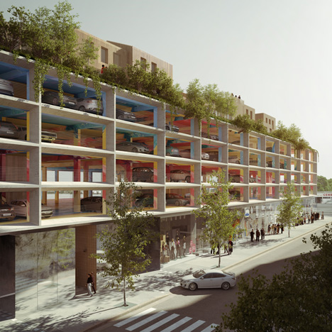 Car park with apartments on its roof by Brisac Gonzalez