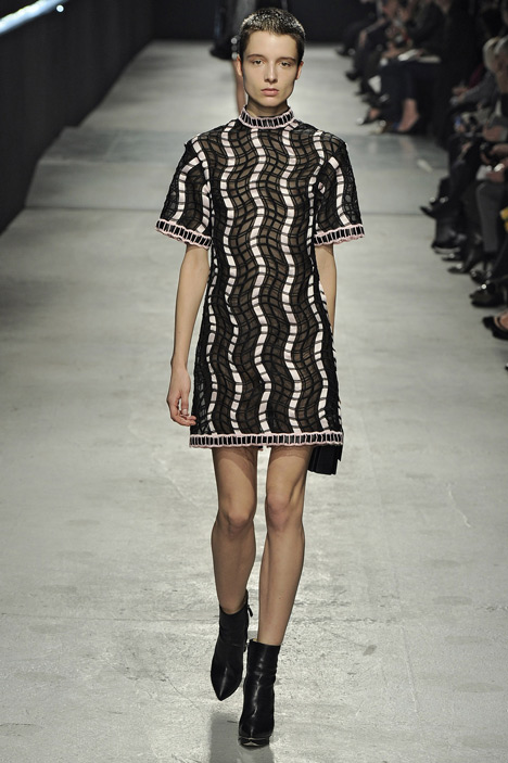Outlined silk layers cover dresses by Christopher Kane