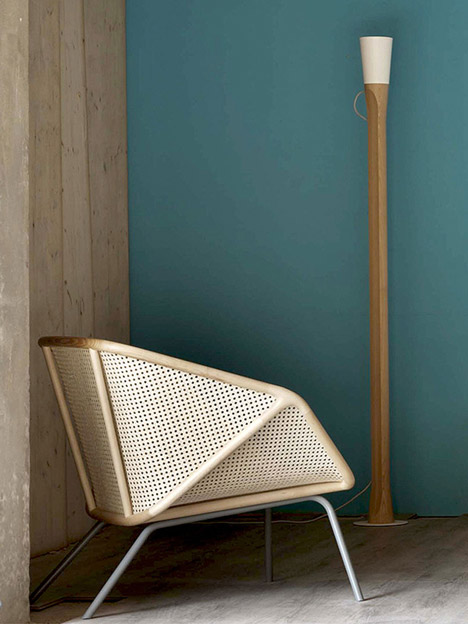 Colony armchair by Skrivo mixes steam-bent wood and rattan