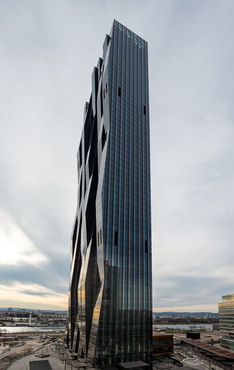 DC Tower 1 by Dominique Perrault Architecture features a faceted glass facade