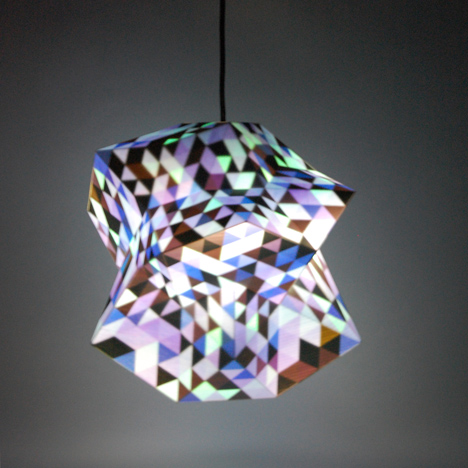 3D-printed Dazzle lamps by Corneel Cannaerts reveal colourful interiors