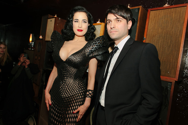 Francis Bitonti with Dita von Teese wearing the dress he and Michael Schmidt created for her