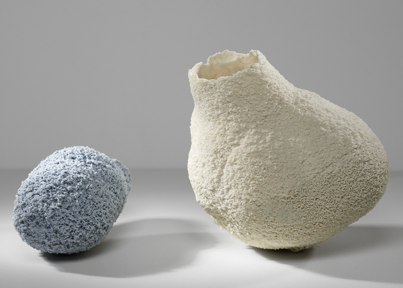 Else vases by Michal Fargo moulded from torn foam blocks