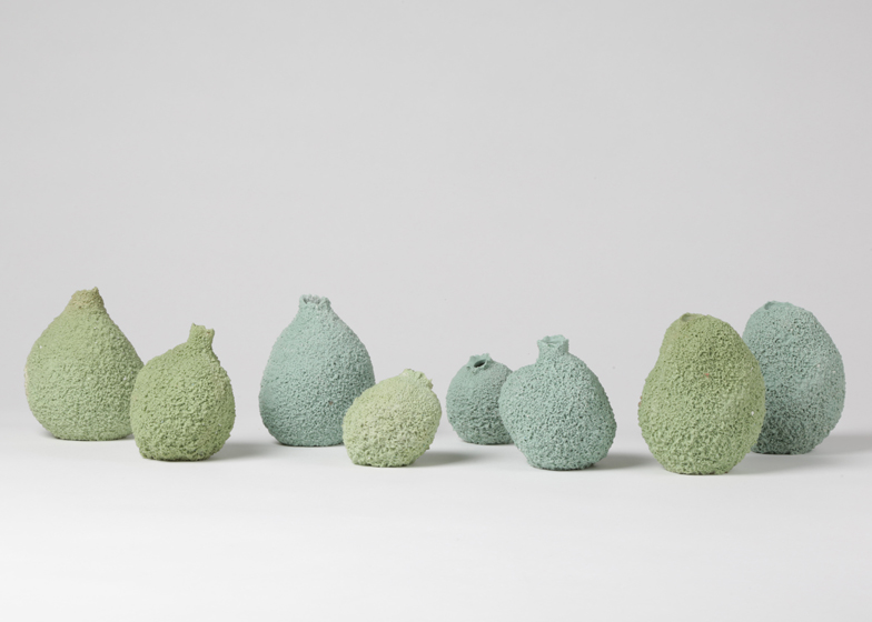 Else vases by Michal Fargo moulded from torn foam blocks