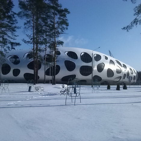 OFIS Arhitekti's spotty stadium for FC BATE Borisov nears completion