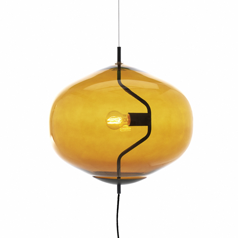 Fondue lamp shaped like a cheese-melting pot by Luca Nichetto