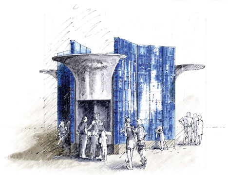 Kiosk sketch by Eric Parry Architects