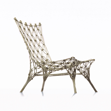 The Knotted Chair was a lightweight design, also hardened with resin, that marked Wanders' international breakthrough in 1996