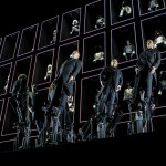 Hydraulic mechanisms tilt singers at Moncler Autumn Winter 2014 presentation