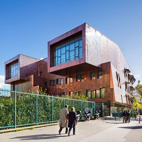 Paris music school by Basalt Architecture features copper walls and cantilevered studios