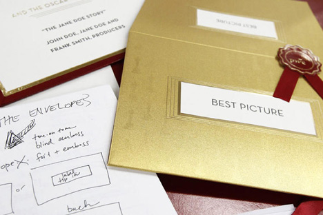 New Oscars visual identity used on awards envelopes_dezeen