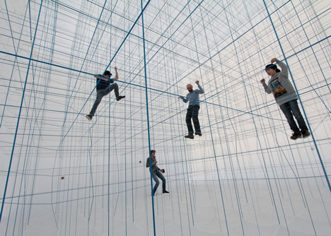 Numen For Use creates 3D grid of ropes inside inflatable installation
