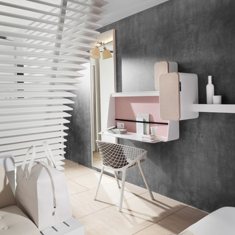 Okko hotel rooms by Patrick Norguet feature bathrooms hidden behind louvred walls