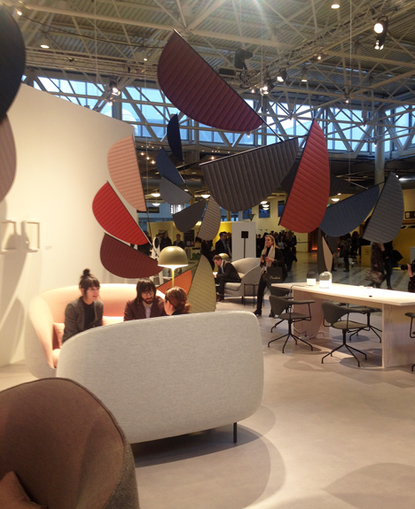 Petal-shaped mobiles for GamFratesi Guest of Honour installation at Stockholm Furniture Fair 2014