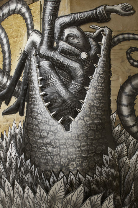 Phlegm graffiti exhibition at Howard Griffin Gallery_dezeen_2
