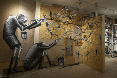 Phlegm graffiti exhibition at Howard Griffin Gallery_dezeen_4