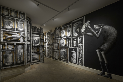 Phlegm graffiti exhibition at Howard Griffin Gallery_dezeen_5
