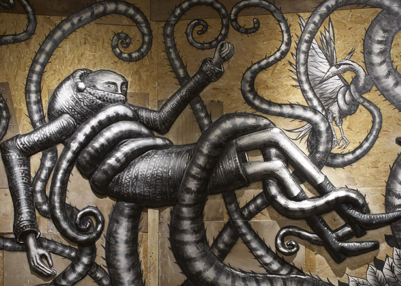 Graffiti fantasy creatures by Phlegm exhibited in east London