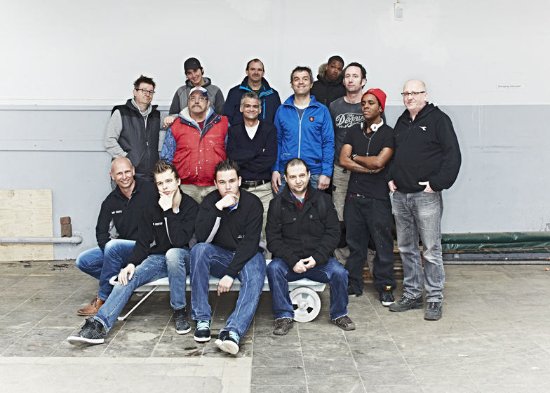 Members of the Piet Hein Eek and Woodworks workshop group
