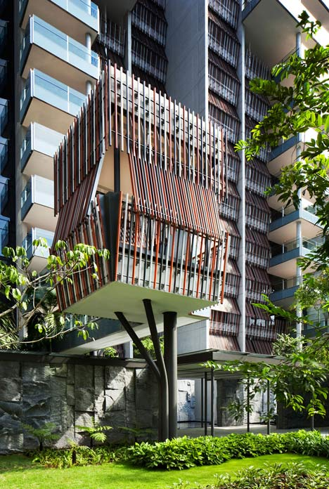Raised outdoor cabins connected to Goodwood Residence apartments by WOHA