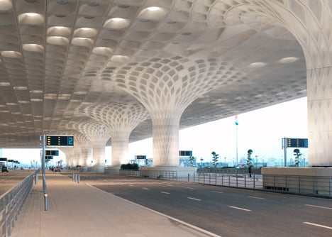 Mumbai airport terminal with coffered canopy