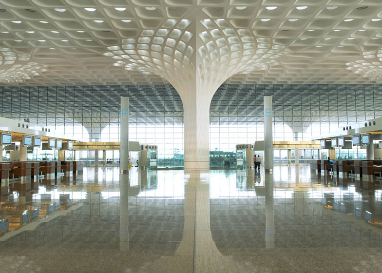 umbai airport terminal with coffered concrete canopy