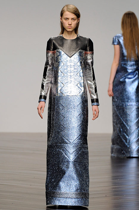 Futuristic gowns formed from metallic neoprene by Sadie Williams
