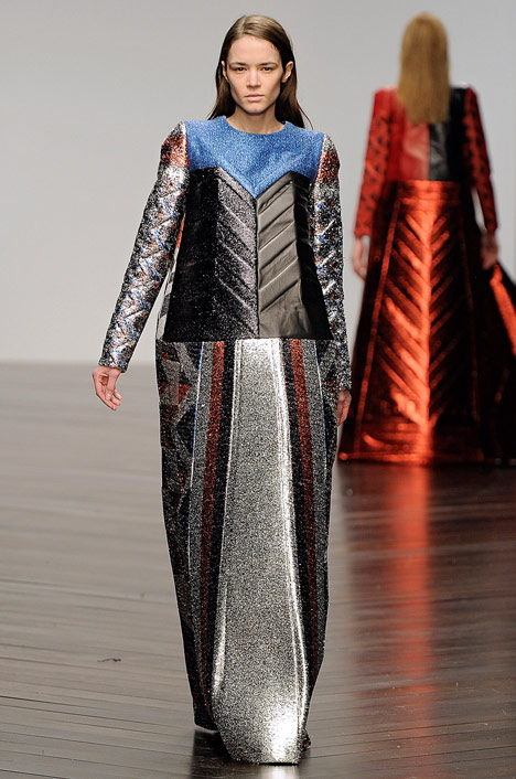 Sadie Williams Totemic metallic neoprene fashion collection_dezeen_8