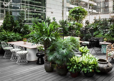 Secluded garden at Duddell's restaurant, Hong Kong, designed by StudioIlse