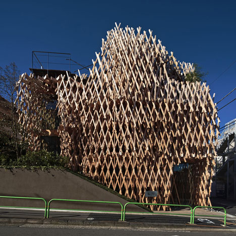 SunnyHills cake shop by Kengo Kuma encased within intricate timber lattice