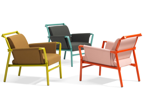 Superkink kinked tubular steel armchairs and sofas by Osko and Deichmann for Bla Station