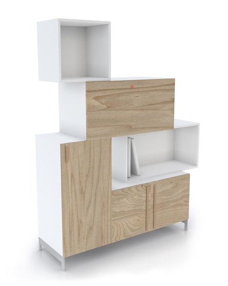 Front designs Tetris storage system made of stacking blocks