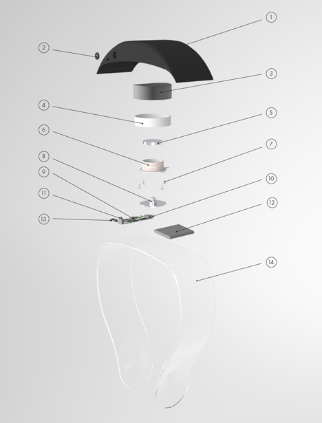 Headphones by Renaud Defrancesco transmit music across plexiglass band