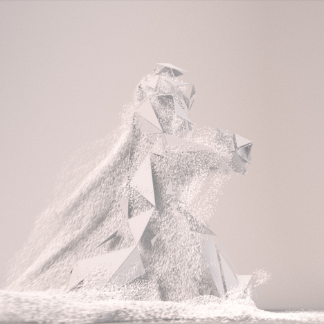 Marching figure transforms into architectural forms in animation by Universal Everything