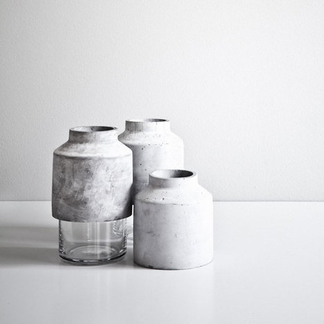 Willmann Vase by Hanne Willmann has a glass base and a concrete lid