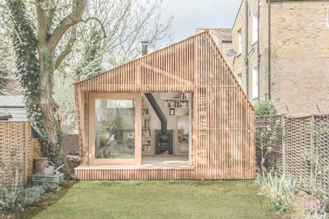 Writer's Shed with a glowing cedar facade by Weston Surman & Deane