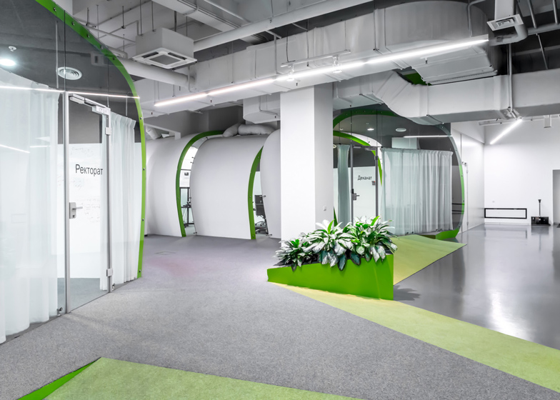 Colourful pods house meeting rooms in IT firm offices by Za Bor Architects