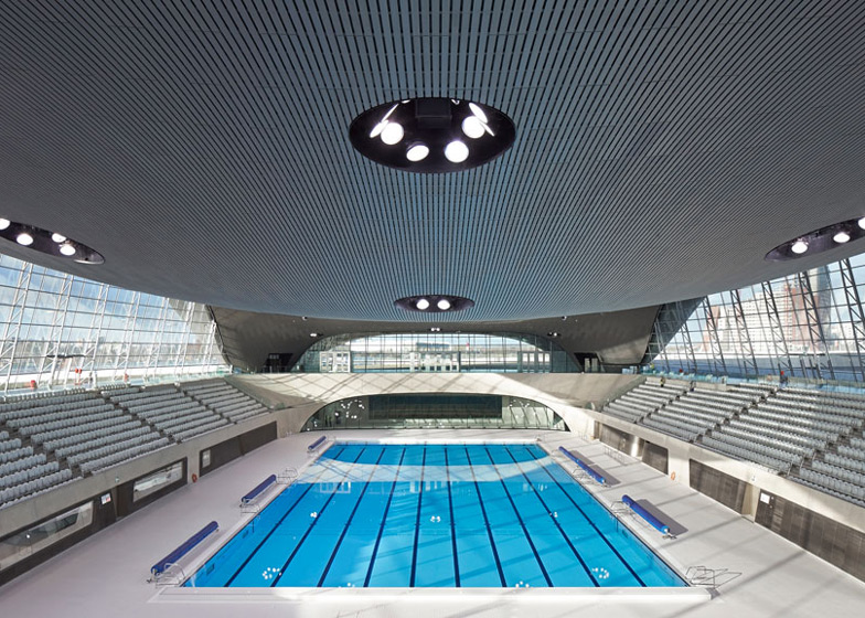 for the pool to be swimmable they had to remove 15000 temporary seats at the edges and cover the sides of the pool with windows