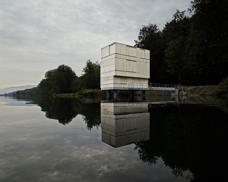 Wooden Zielturm Rotsee tower houses judges for Swiss rowing regatta