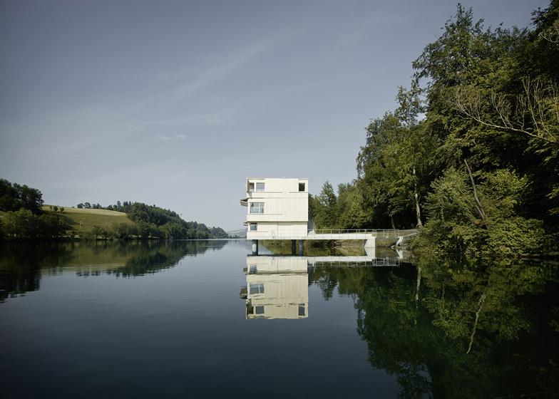 Wooden Zielturm Rotsee tower houses judges for Swiss rowing regatta