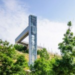 Steel-clad outdoor elevator connects the city and suburb in Pamplona
