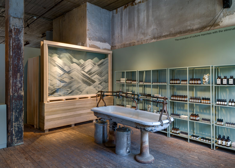 Aesop New York pop up shop installation by Frida Escobedo
