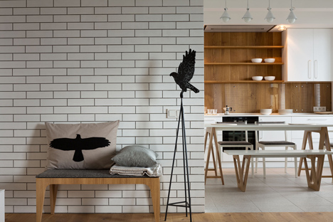 Apartment with the Birds by Olena Yudina has a monochrome material palette