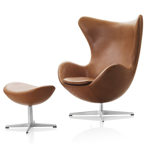 Egg Chair and Stool by Arne Jacobsen