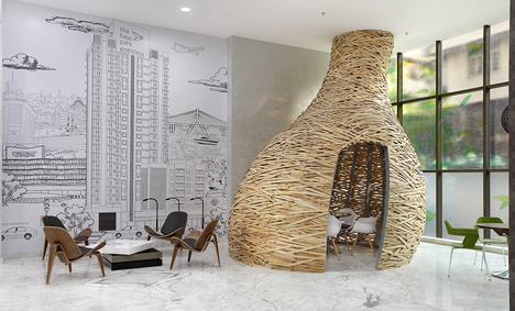 Giant timber nest provides meeting room at Baya Park offices by Planet 3 Studios