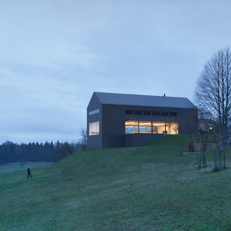 Black Barn by Arhitektura d.o.o. provides panoramic views of the Slovenian countryside_dezeen_50sq