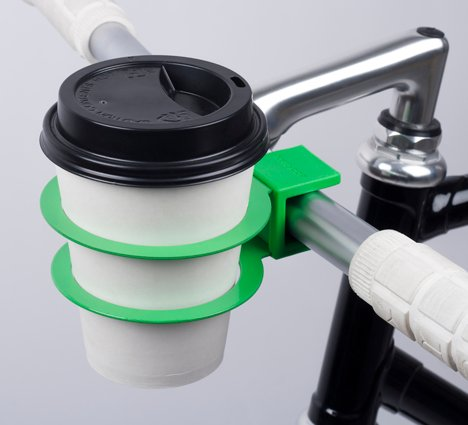 Cup holder by Bookman for coffee-fuelled cycling